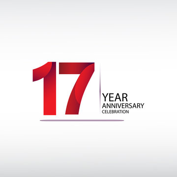 17 years anniversary celebration logotype. anniversary logo with red, vector design for celebration, invitation card, and greeting card