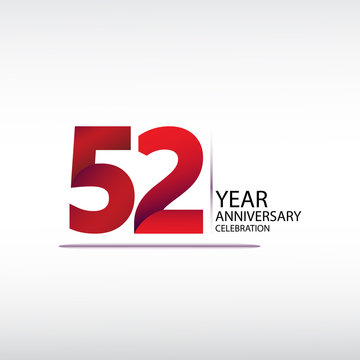 52 years anniversary celebration logotype. anniversary logo with red, vector design for celebration, invitation card, and greeting card