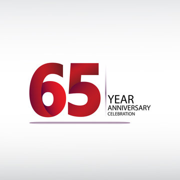 65 years anniversary celebration logotype. anniversary logo with red, vector design for celebration, invitation card, and greeting card