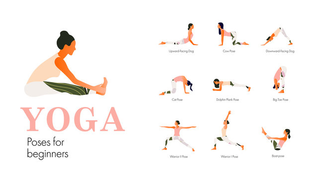 A set of yoga postures female figures for beginners. Woman figures exercise in printed sportswear. Vector Illustration, flat style.