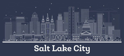 Poster Night blue Outline Salt Lake City Utah City Skyline with White Buildings.