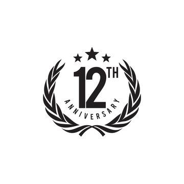 12th year anniversary emblem logo design vector template