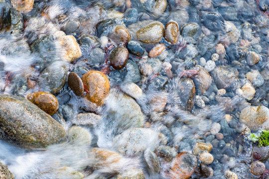 Overhead shot of smooth river rocks