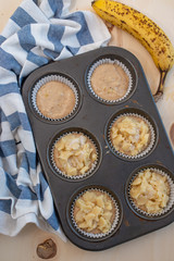 Homemade banana muffins on the wooden table