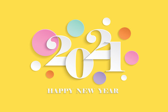 Paper art Happy new year 2021 on Yellow background,vector illustration
