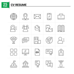25 CV Resume icon set. vector background