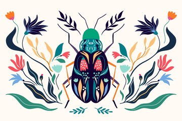 Decorative poster/banner with floral design, insect, flowers, and plants - 315833303