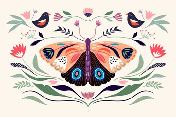 Decorative poster/banner/composition with floral elements, butterfly,different flowers and plants - 315833334