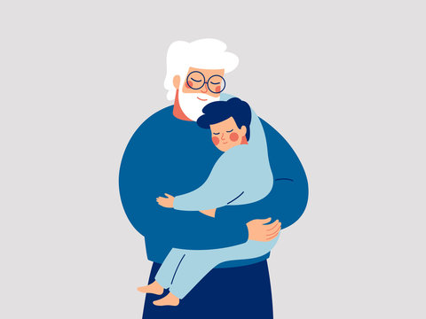 Senior father embraces his son with care and love. Happy Grandfather hugs his grandson. Happy Fathers Day concept with daddy and small boy. Vector illustration
