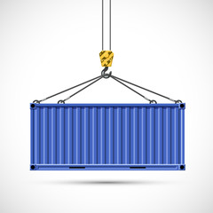 Obraz Cargo container hanging on a crane hook. Freight shipping. - fototapety do salonu