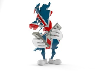 UK character counting money on white background