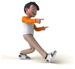 Fun 3D cartoon Asian teenager .