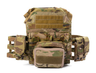 Military body armor isolated on white background
