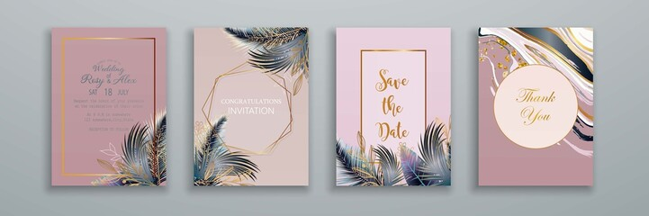 Tropical Leaves Wedding Invitation Set. Luxury Card, Poster, Greeting Cards with Palm Leaves. Set of Elegant Brochure, Background, Cover. Vector EPS10.