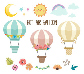 The collection of cute hot air balloon set. The pack of hot air balloon have the hot air balloon and flower set and element of sky like the moon, star , sun,rainbow on the white background.
