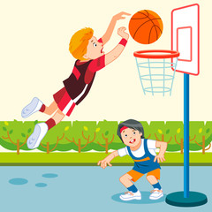 Kids playing basketball in a playground. Cartoon, flat style vector Illustration.