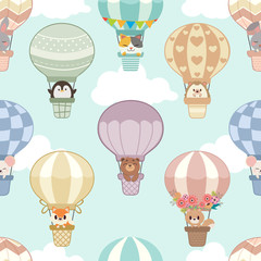 The seamless pattern of hot air balloon with animals on the sky and cloud. The character of cute cat, penguin, bear , hedgehog,mouse,fox,rabbit, squirrel in the basket. The animal in flat vector style