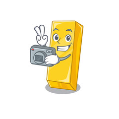 Cool Photographer gold bar character with a camera