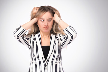 Portrait of a Young Business Woman Having Strong Headache