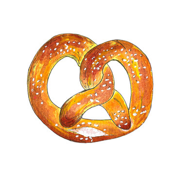Hand drawn watercolor pretzel isolated on white background. Vintage vector illustration for bakery poster, menu, price list, print. Book picture.
