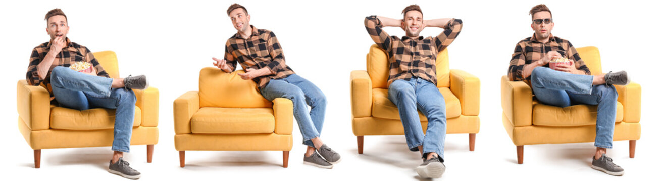 Handsome man watching movie while sitting in armchair on white background