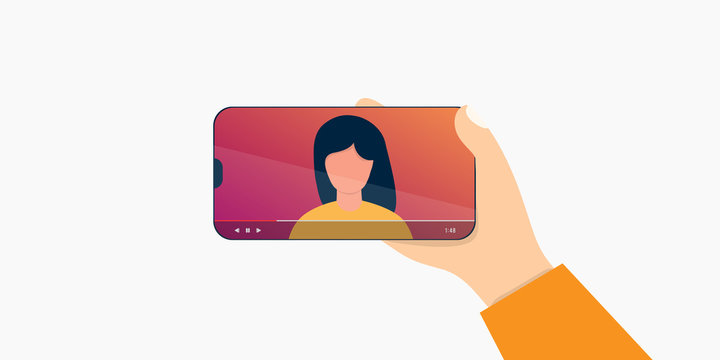 Cartoon internet blogger recording media content. Influencer filming video blog. Girl takes photography on her smartphone vector illustration