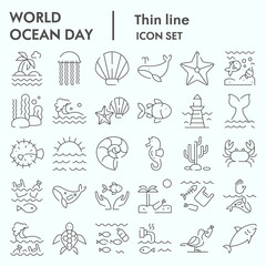 World ocean day thin line icon set, water world collection, vector sketches, logo illustrations, computer web signs linear pictograms package isolated on white background, eps 10.
