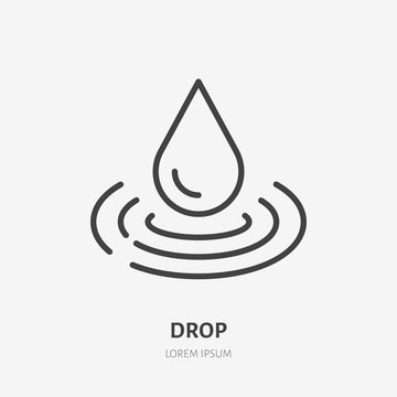 Water drop line icon, vector pictogram of raindrop and waves. Pure aqua illustration, sign for liquid packaging, moisturizing cream