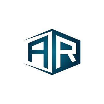 AR monogram logo with hexagon shape and negative space style ribbon design template