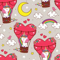 seamless pattern with cute unicorn is flying in a balloon - vector illustration, eps