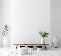 Photo sur Toile Style Boho Wall mock up in white simple interior with wooden furniture, Scandi-Boho style, 3d render