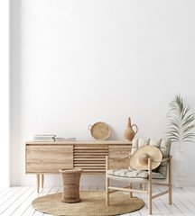 Stores à enrouleur Style Boho Wall mock up in white simple interior with wooden furniture, Scandi-Boho style, 3d render