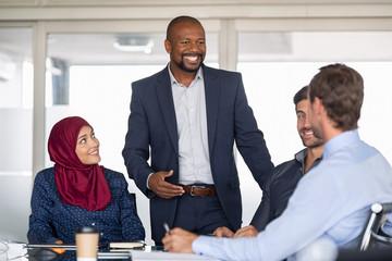 Multiethnic business people in meeting