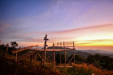 Aluminium Prints Gray Sunset in the mountains Chiang Rai,Thailand.
