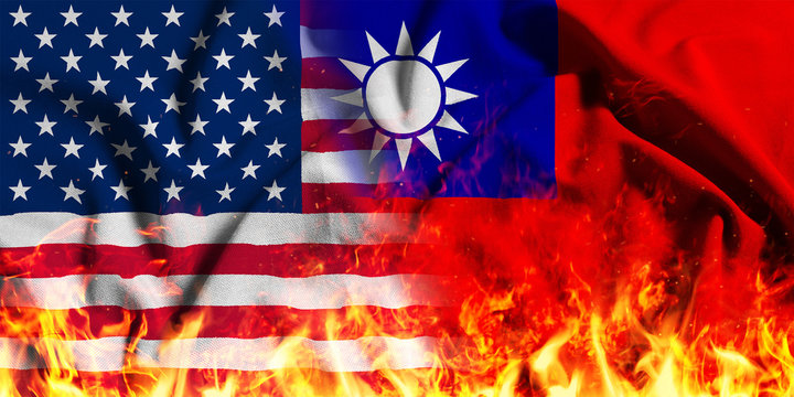 National flag of the United States with Taiwan on a waving cotton with a fire texture
