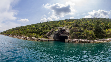 Fortified rock entrance for sheltering submarines in the Kotor Bay of the Adriatic
