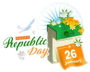 Happy republic day india calendar and white dove symbol of peace
