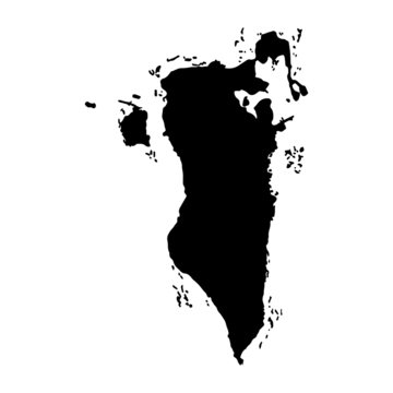 Bahrain map vector, isolated on white background. Black map template, flat earth.  Simplified, generalized world map with round corners.