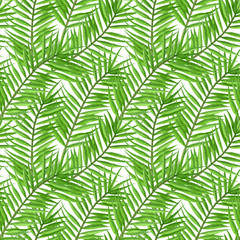 Spoed Fotobehang Tropische Bladeren Watercolor tropical palm leaves seamless pattern. Hand Drawn seamless tropical floral pattern.