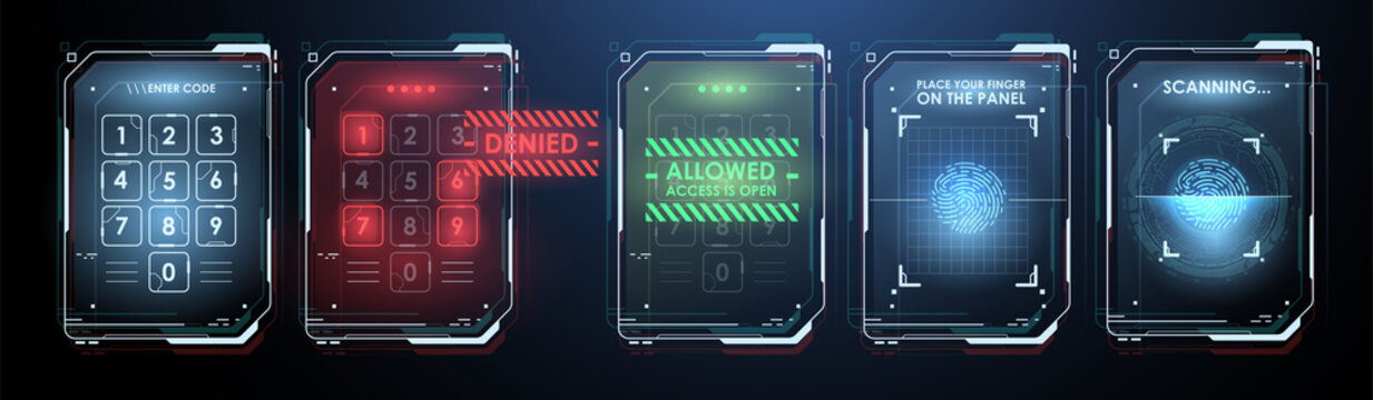 Fingerprint Scanning Technology Concept Illustration. Control panel with password. Security and access to information through biometrics identification. Vector Illustration.