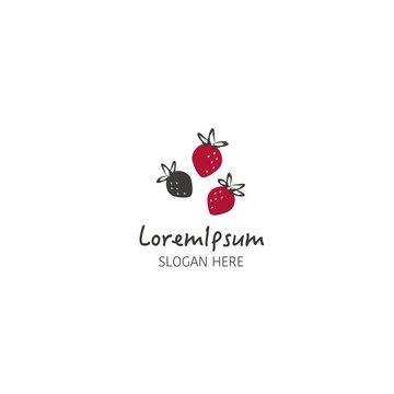 Vector strawberry logo design template on white