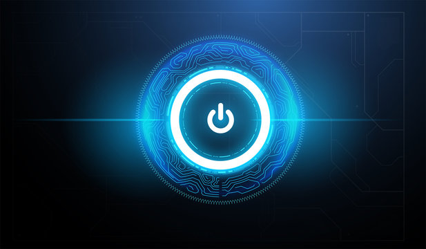Tech futuristic technology background with power button. Abstract technology ui concept with futuristic hud elements.