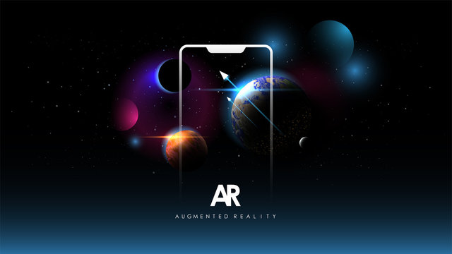 Abstract creative illustration with augmented reality phone, vector illustration for landing page. AR concept for web and app. Template with Space background. Planet of solar system.