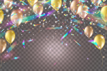 Wall Mural - Balloons and holographic glitter confetti isolated on transparent background. Gold festive helium ballons with foil hologram tinsel. Vector golden rose baloons birthday party design.