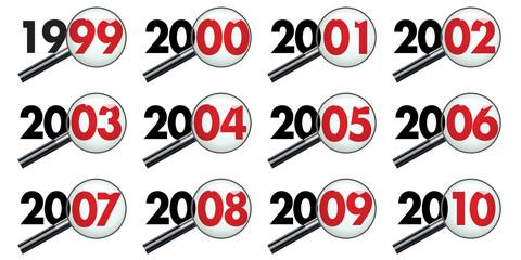Pictogrammes représentant la décénnie des années 2000 vues au travers d'une loupe pour symboliser le bilan et l'analyse des événements.