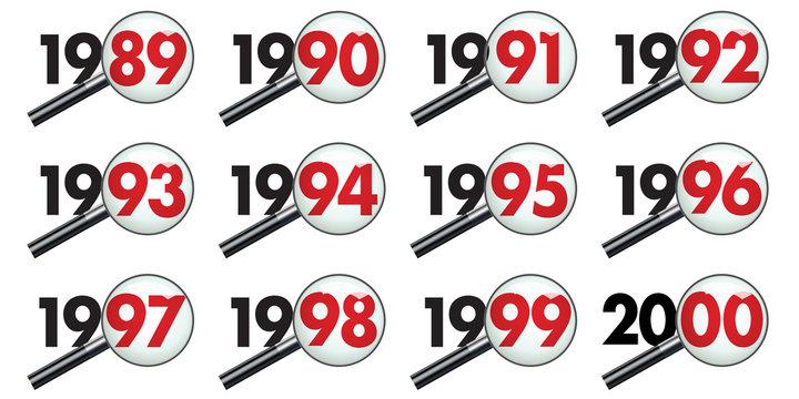 Pictogrammes représentant la décénnie des années 90 vues au travers d'une loupe pour symboliser le bilan et l'analyse des événements.