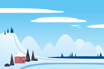 Deurstickers Blauw Winter landscape sci mountains house hut frosen lake river ice. Pine trees snow ice and hills