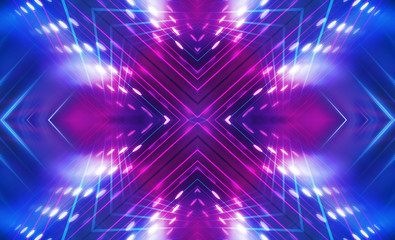 Spoed Fotobehang Fractal waves Dark abstract futuristic background. Neon lines glow. Neon lines, shapes. Multi-colored glow, blurry lights, bokeh. Empty stage background