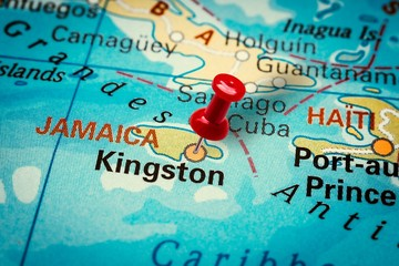Pushpin pointing at Kingston city in Jamaica