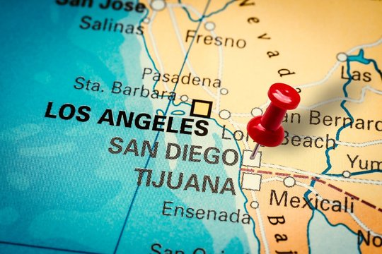 Pushpin pointing at San Diego city in California, America